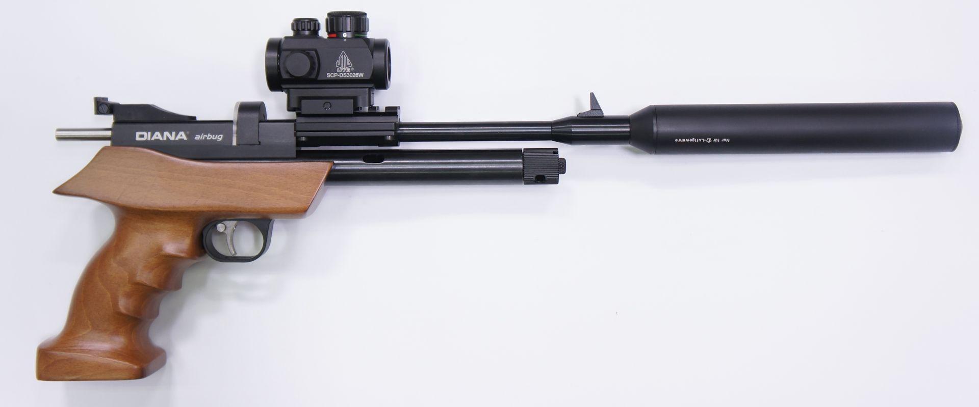 Dieses Set mit der CO2 Repetierluftpistole Diana airbug muss selbst montiert und eingeschossen werden.