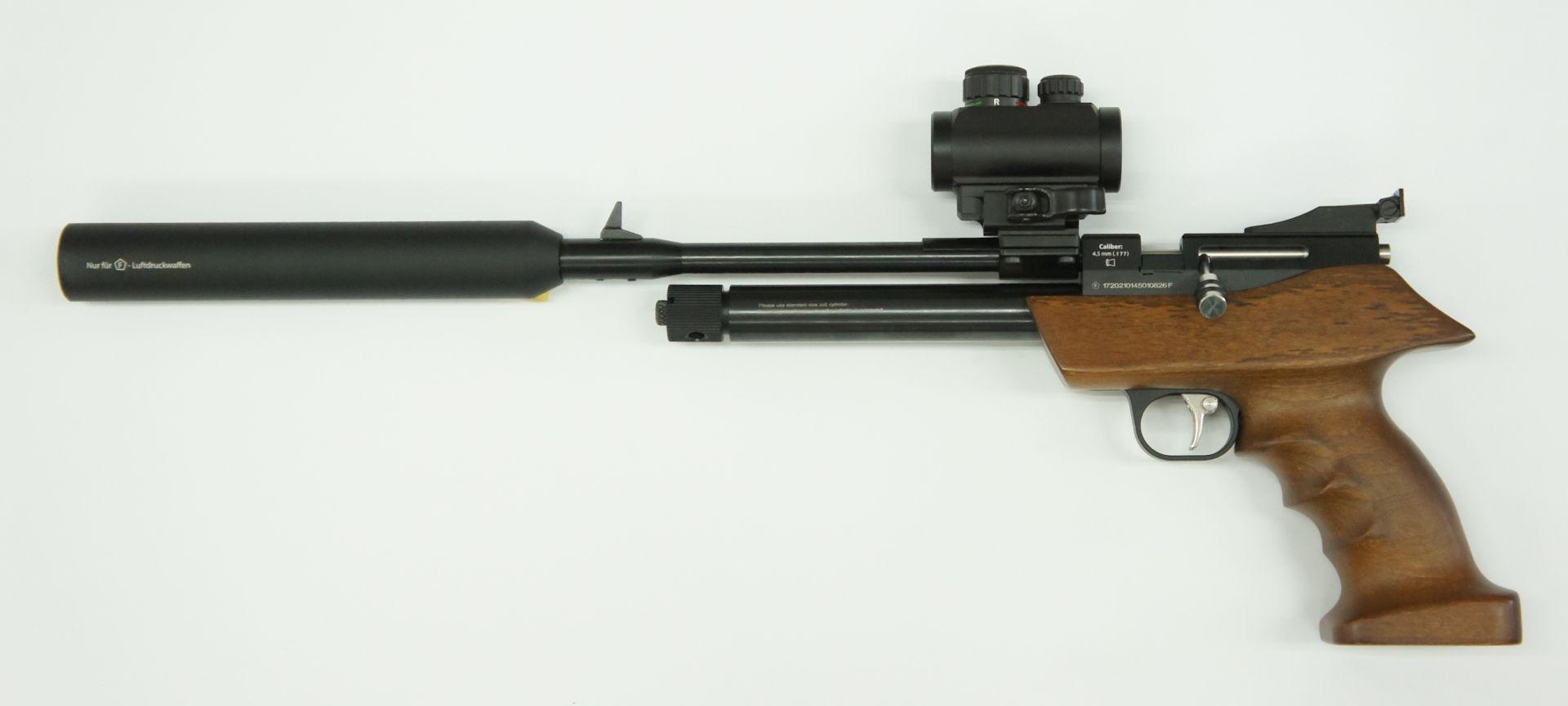 Set aus CO2 Repetierluftpistole Diana airbug mit Optik, Schalldämpfer und Zubehör