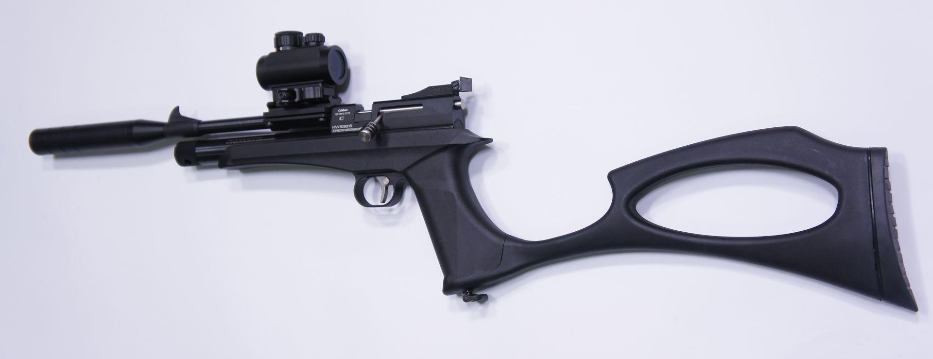 Wer auch Schalldämpfer und Anschlagschaft gut findet, sollte gleich das <a href=1050107-45-K.htm>Diana Chaser CO2 Pistolen- und Gewehrset</a> anschaffen. Meine Zubehörempfehlungen wären die gleichen.