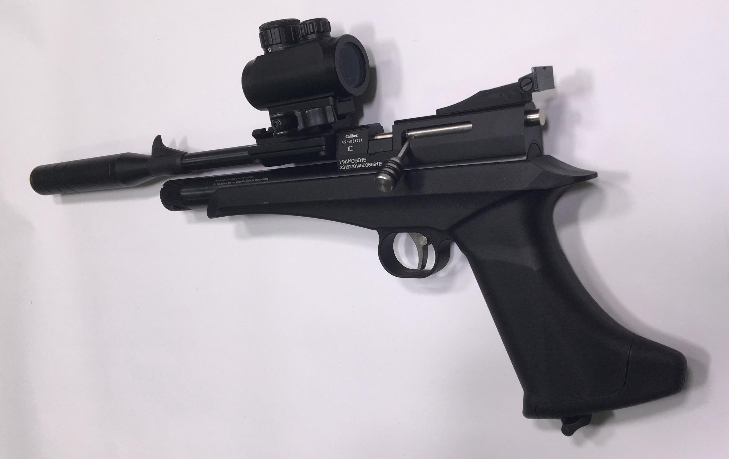 Auch für die Diana Chaser kann ich Ihnen ein passendes Leuchtpunktvisier anbieten. Wenn Sie mir die Anbauteile im Wert von rund 89 € bezahlen, würde ich Ihnen diese Waffe damit eingeschossen liefern.