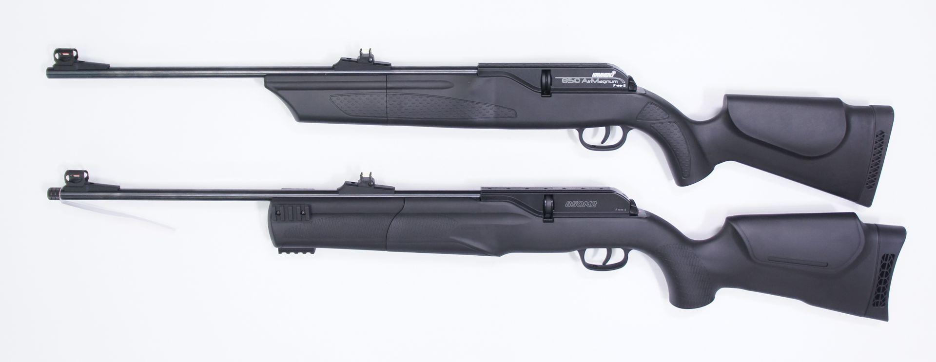 Dieses Bild zeigt den Vergleich von Modell 850 Airmagnum (oben) und dem 850 M2 (unten.