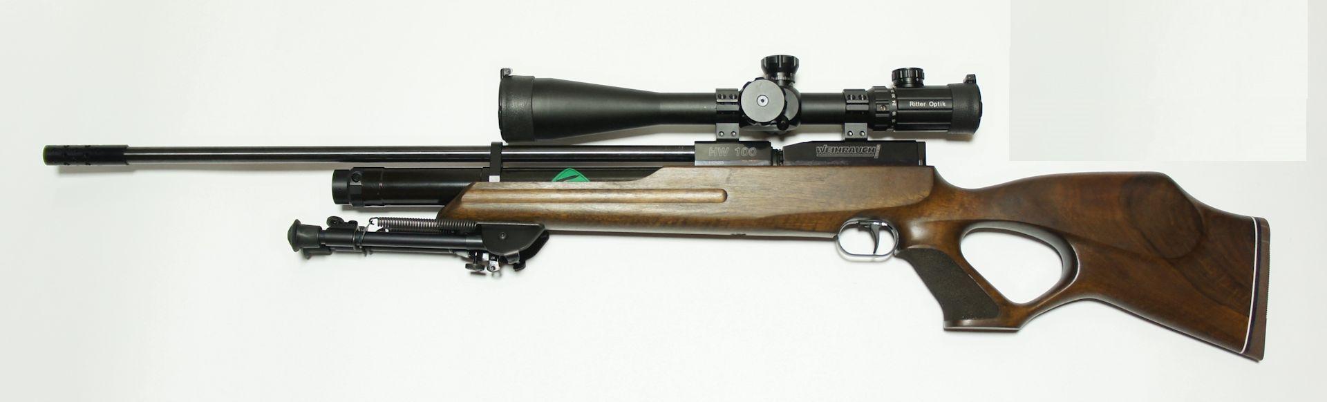 Weihrauch HW100 T FAC sniper mit Zweibein und Zielfernrohr AIRMAX 30 SF Compact Modell 6-24x50 SF