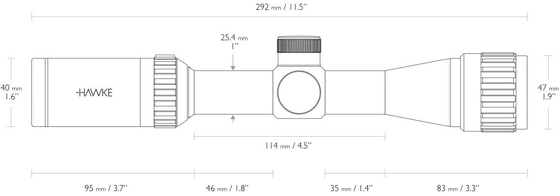 Hier sehen Sie die Abmessungen vom Hawke Vantage 2-7×32 AO Mil Dot