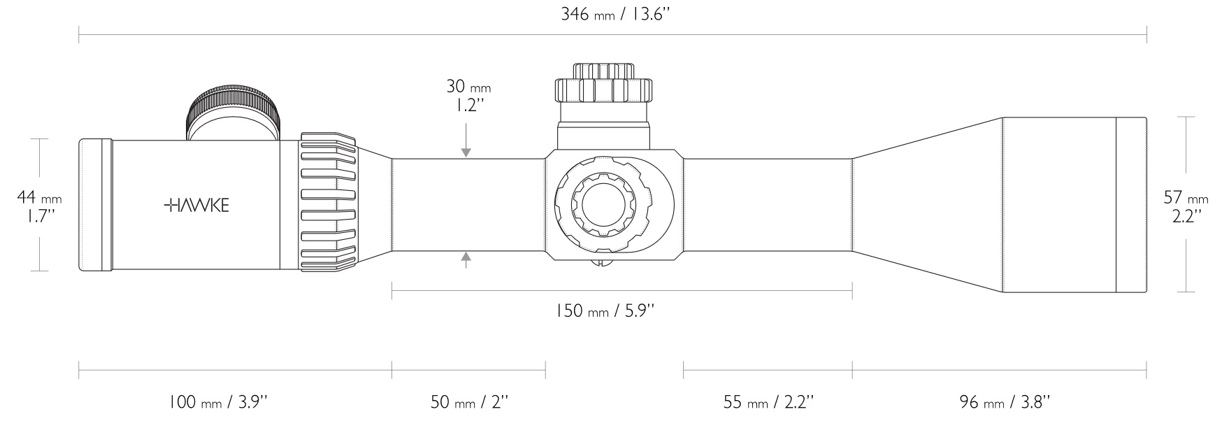 Das wäre eine Skizze mit Maßen dieser Optik.  das Bild sollten Sie bei Bedarf vergrößert anschauen.