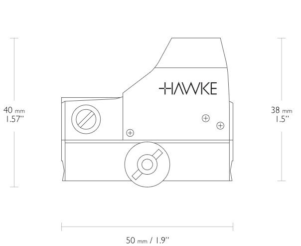 Abmessungen vom Hawke Reflexvisier, Weaver