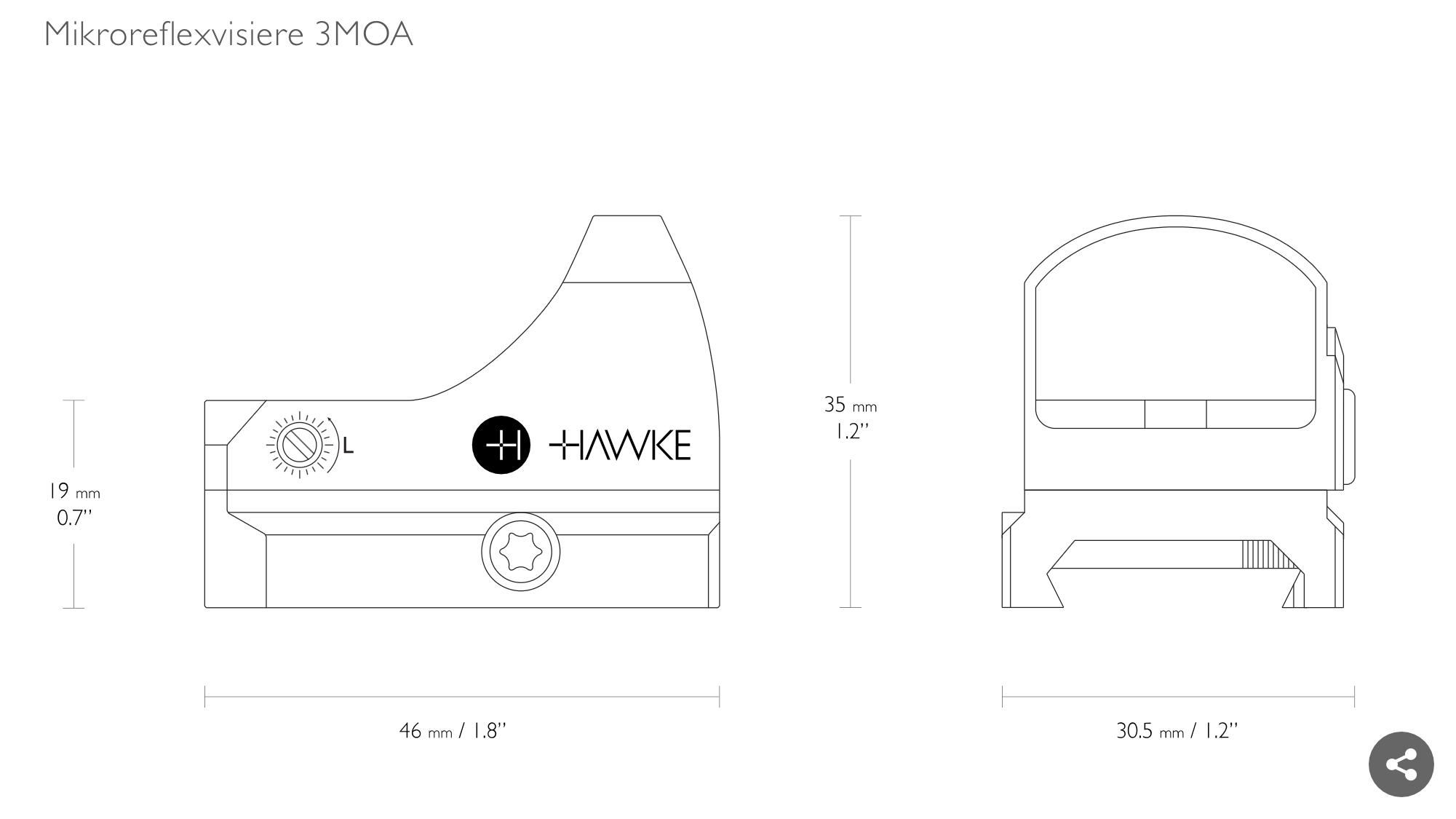 Abmessungen vom Hawke Mikroreflexvisier 3 MOA