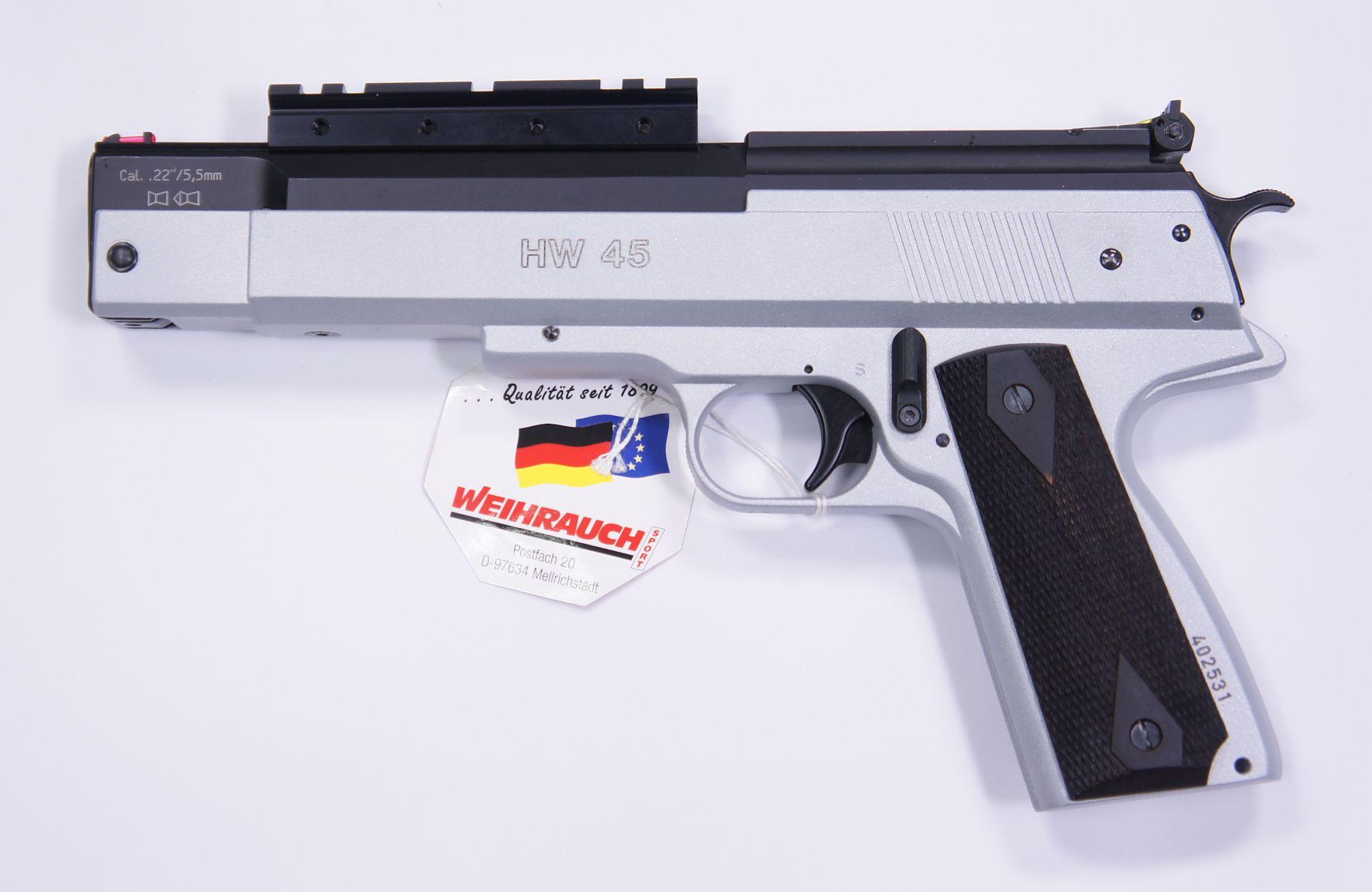 Montagebeispiel der angebotenen Montageschiene an einer standardmäßgen Luftpistole HW 45