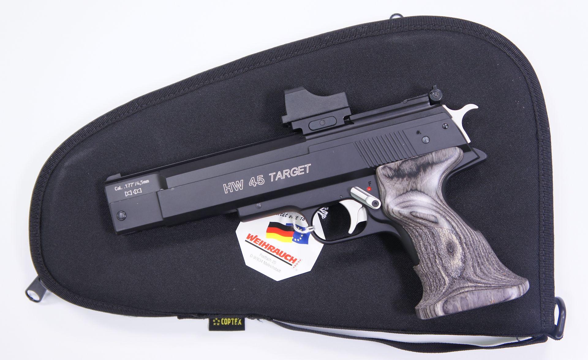 Als Zubehör für die HW 45 Trophy RTU (Bildbeispiet mit Targetversion) mit aufgesetzter Optik kann ich Ihnen <a href=1340088.htm> solche praktische Pistolentasche </a> für Aufbewahrung und Transport anbieten. Die Tasche wäre mittels Vorhängeschloss abschließbar.