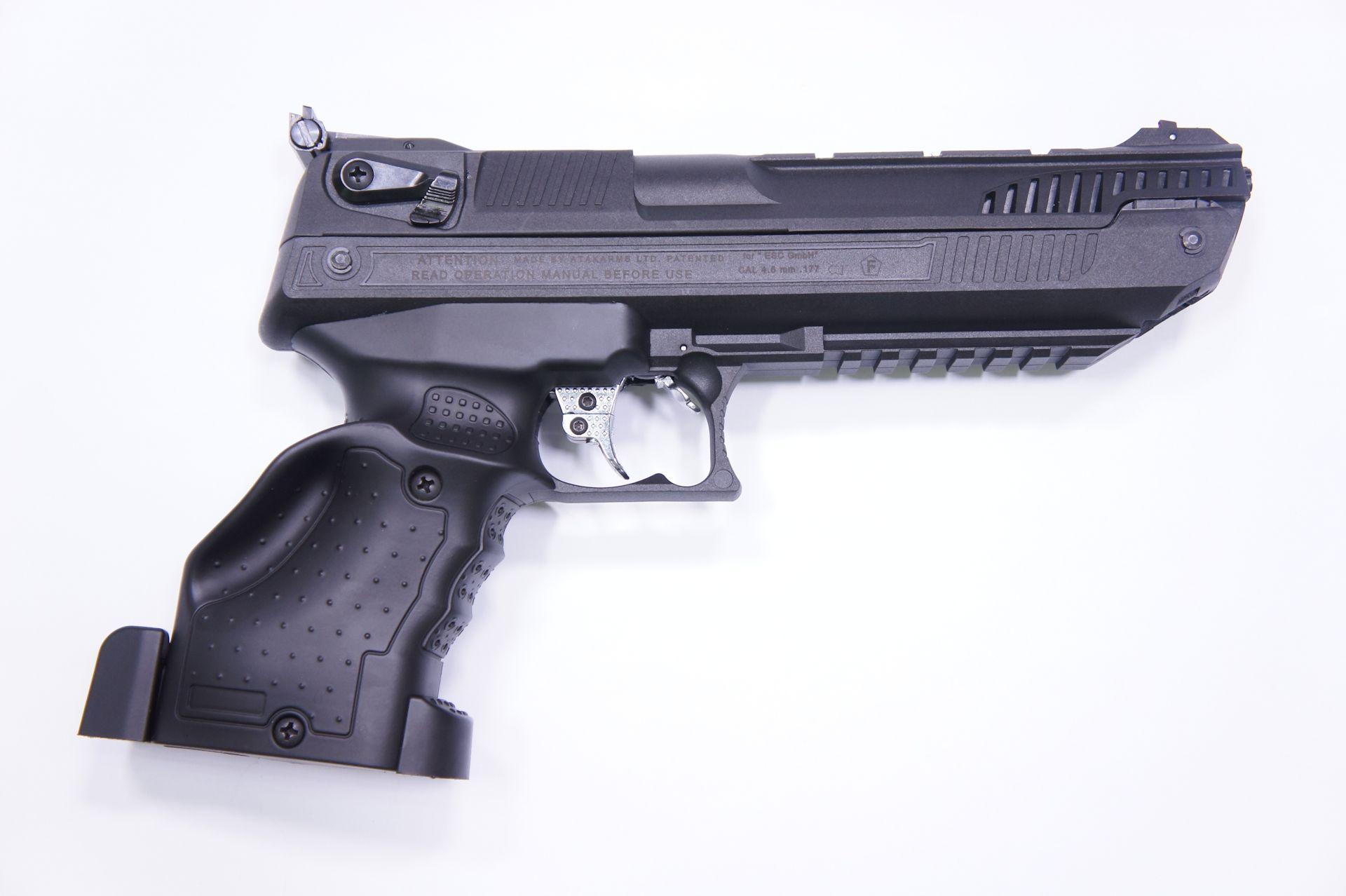 Die Luftpistole HP01 in Linksausführung von der linken Seite.