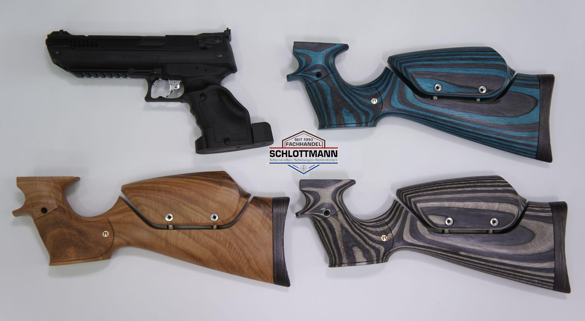 Für Sie haben wir auch verschiedene<a href=schaft-und-griff.htm>  verschiedene Anschlagschäfte für die Luftpistole HP 01</a> im Sortimenrt