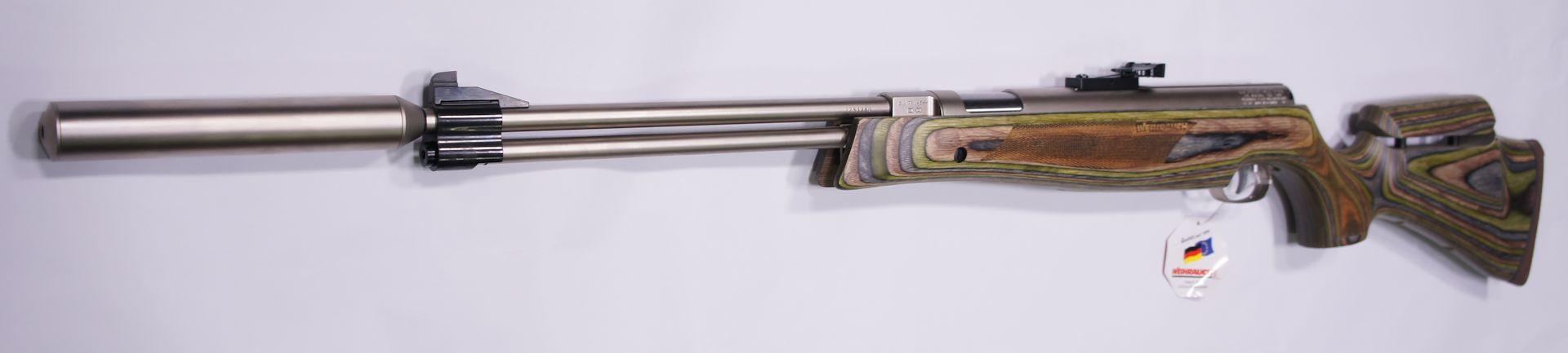 Dieses Bild zeigt Erweiterungsmöglichkeiten gegen Aufpreis. Das sind der vernickelte Schalldämpfer und eine höhenverstellbare Schaftbacke.