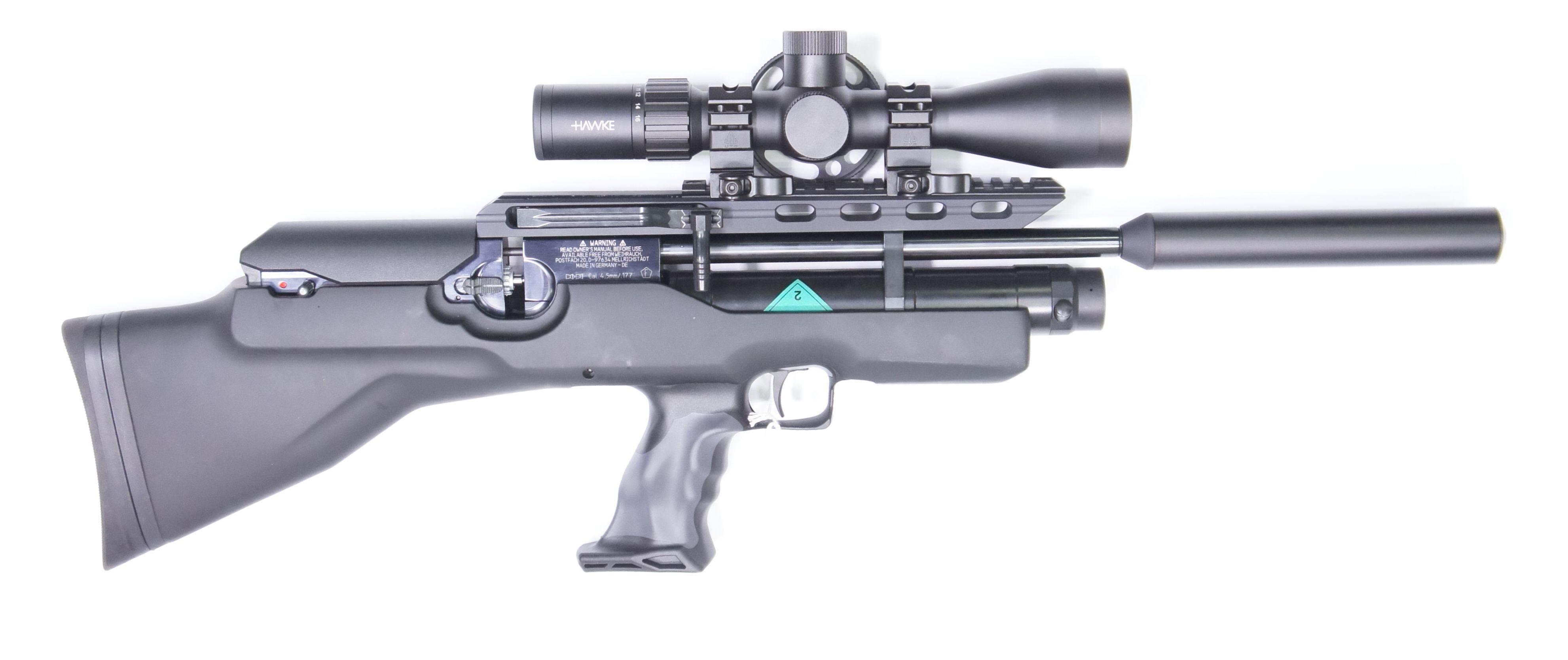 Montagebeispiel mit Zielfernrohr Hawke AIRMAX 30 SF Compact Modell 4-16x44 und Schnellspann- Montageringen