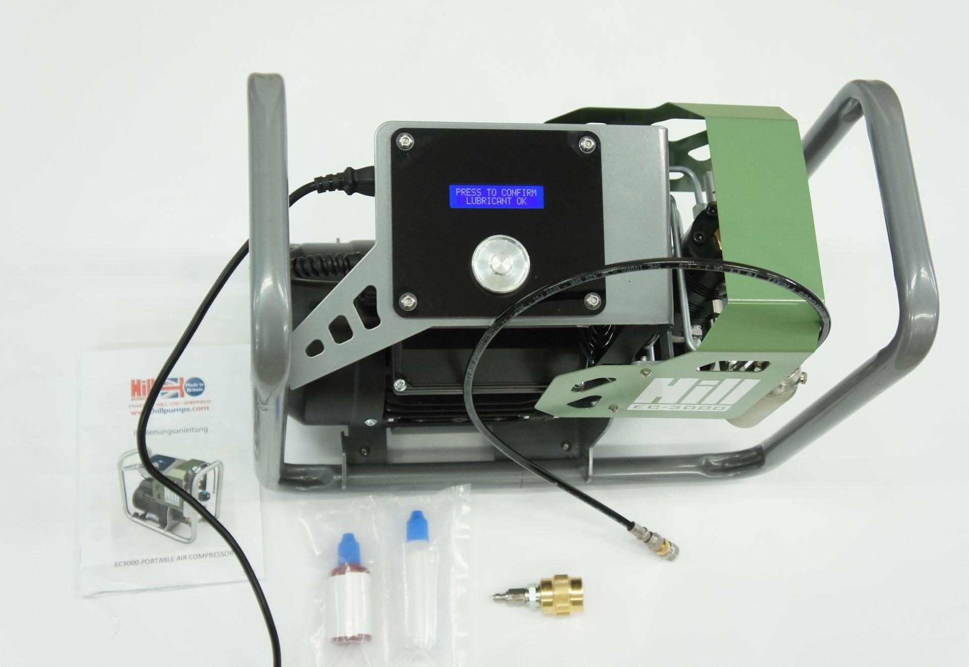 HILL EC-3000 ELEKTRISCHER DRUCKLUFTKOMPRESSOR  für Kartuschen mit Zubehör aus dem Lieferumfang