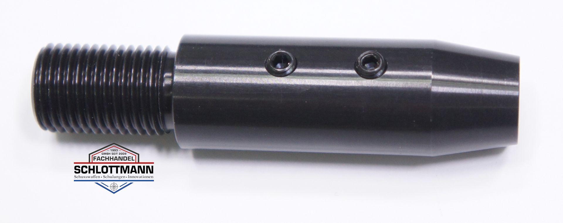 Schalldämpferadapter für CO2 Repetierpistole CP1-M. Hier sehen Sie die klemmschrauben an der Unterseite