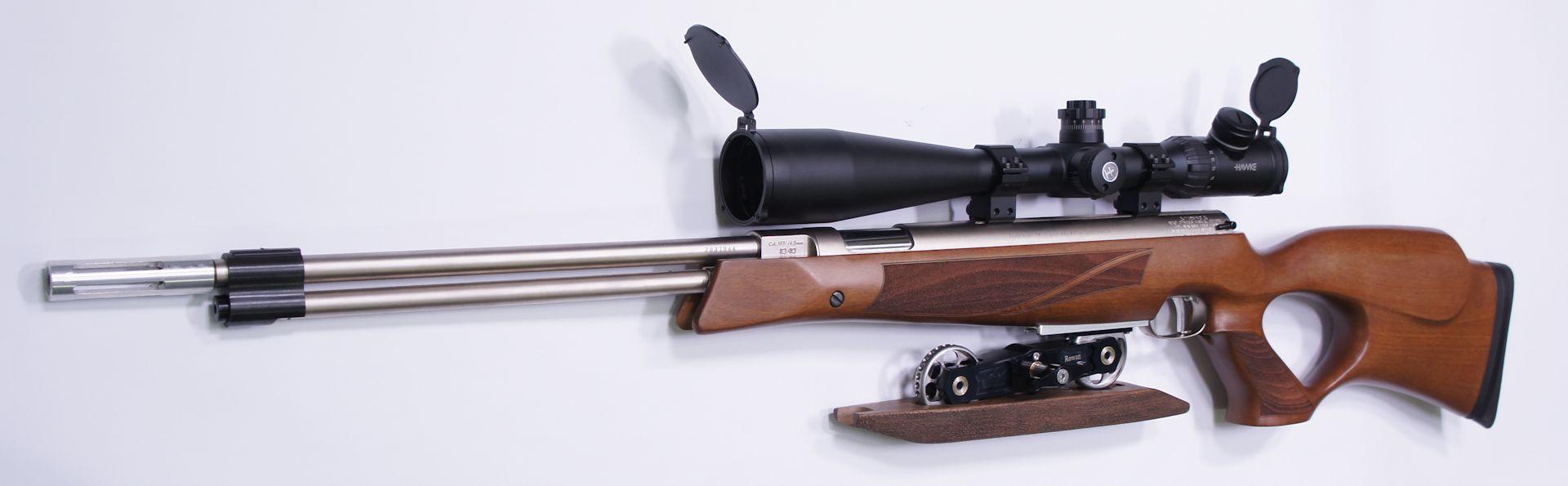 Montagebeipiel mit möglichem Zubehör: In diesem Wettkampfluftgewehr sind verschiedene Zubehörteile eingebaut.  Das abgebildete HW 77 K ist für das Field Target schießen hergerichtet.