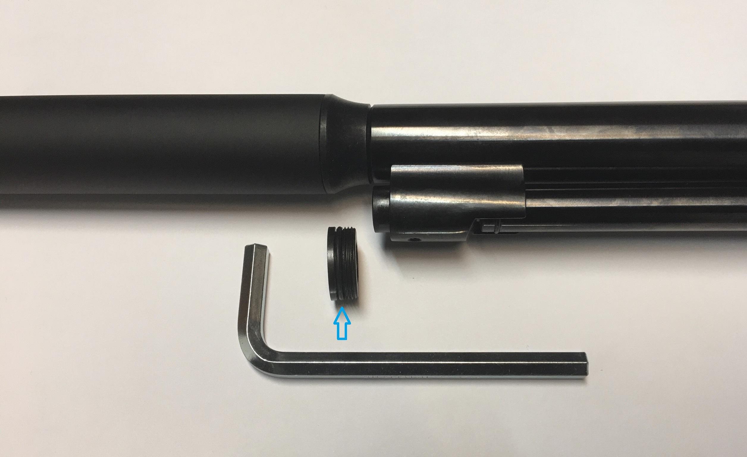Montagebeispiel vom aufgesetzten Schalldämpfer am Luftgewehr HW 97 mit abgebildetem <a href=1155570.htm> Inbusschlüssel 7mm</a> (nicht im Lieferumfang)