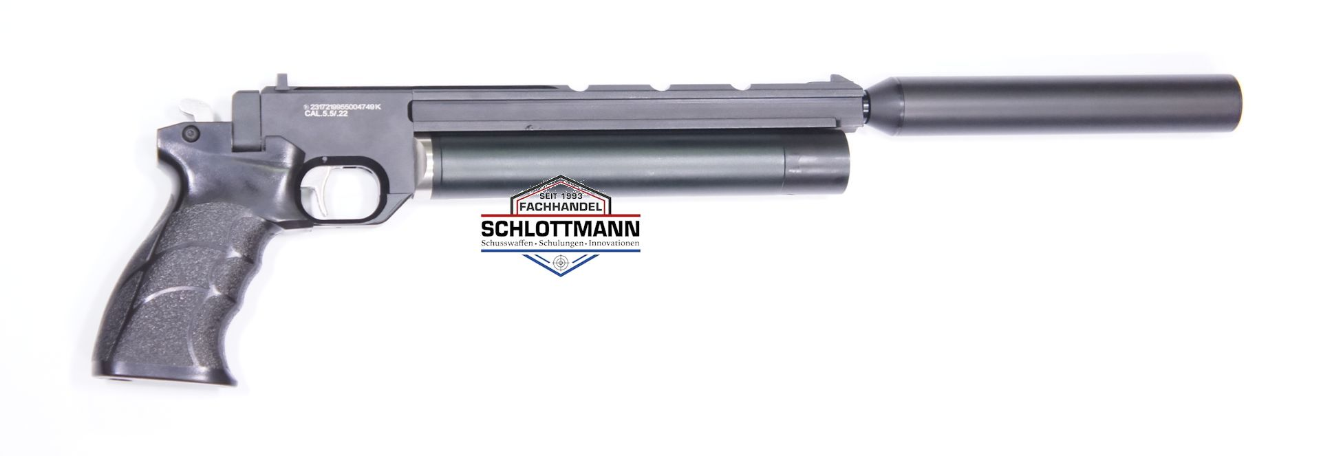 WASP Schalldämpfer Mk1 im Montagebeispiel  mit Luftpistole Artemis PP700S