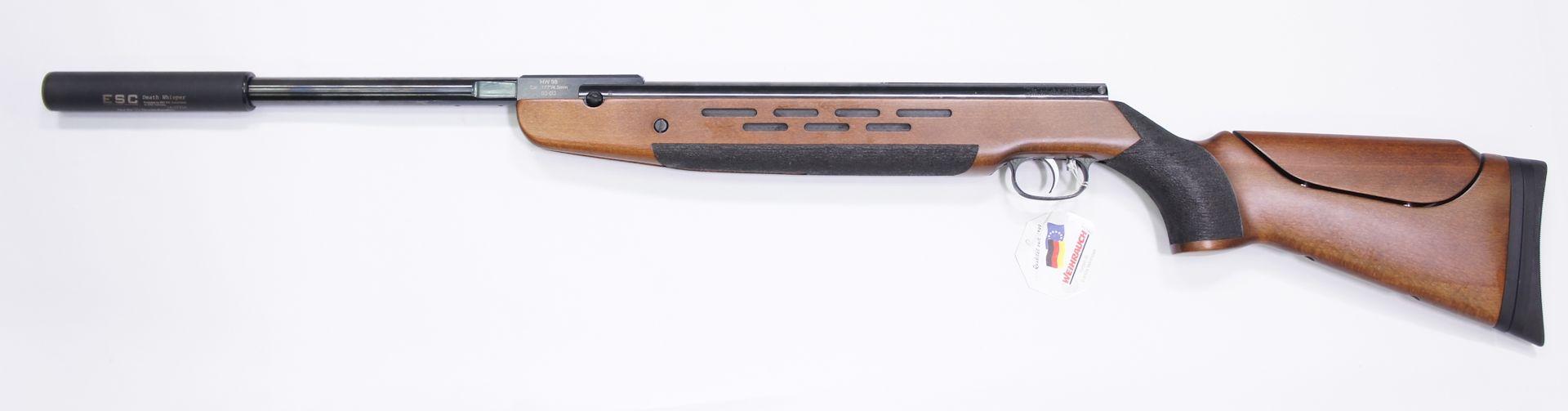 Montagebeispiel Schalldämpfer B&T am Luftgewehr HW 98