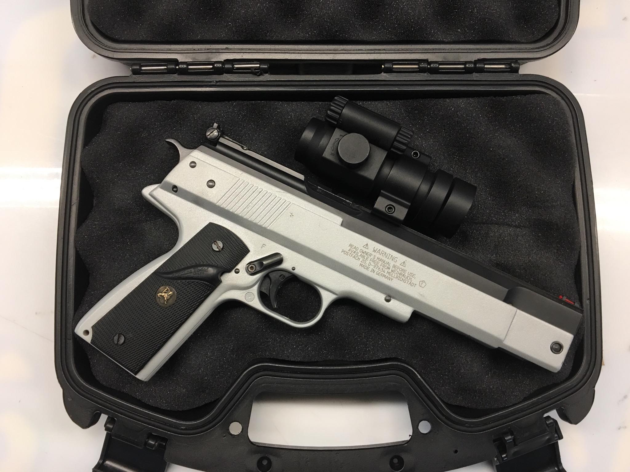 Anwendungsbeispiel mit Luftpistole HW45 und Rotpunktvisier
