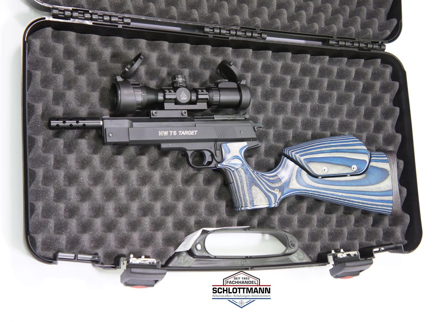 Für <a href=luftdruckpistolen.htm>  solch gute Waffen</a>, wie diese Luftpistole HW 75 Target, sollte man sich auch den passnden Koffer gönnen.