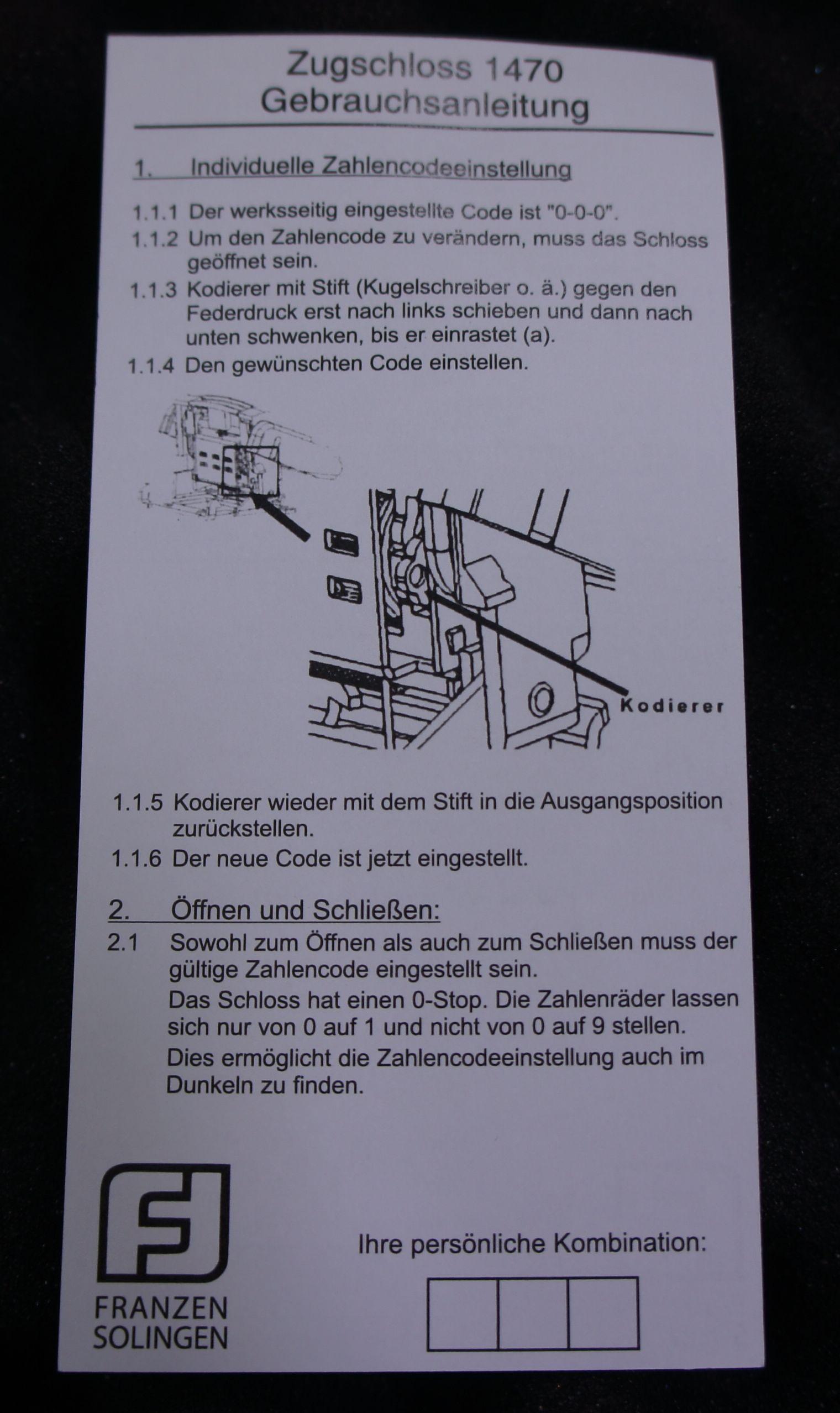 Hier habe ich für Sie gleich mal die Beschreibung vom Zahlenschloss zum Gewehrkoffer abgebildet.