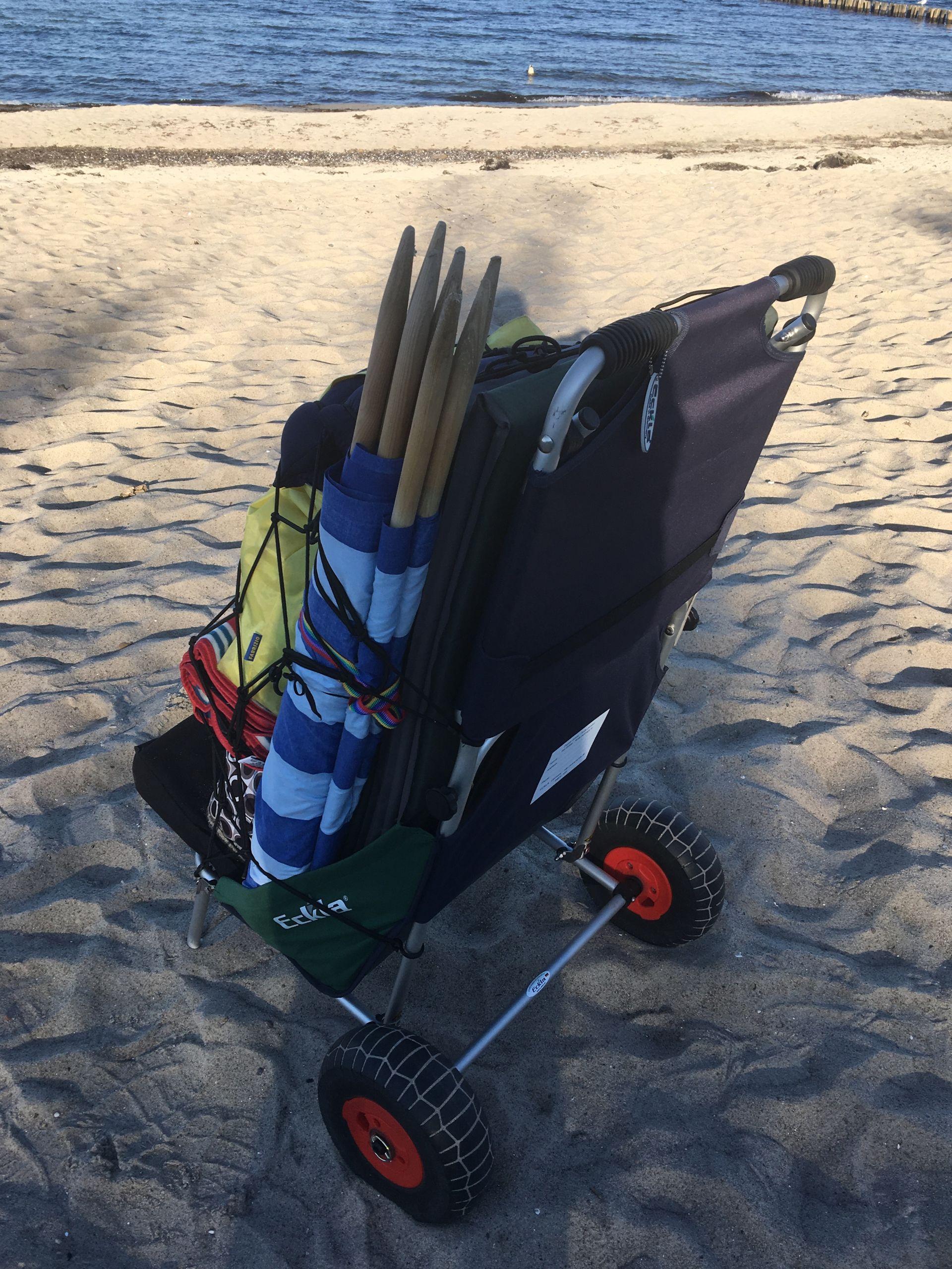 Lieferung mit ECKLA Gepäcknetz für den sicheren Transport Ihrer Strandausrüstung oder anderer Dinge
