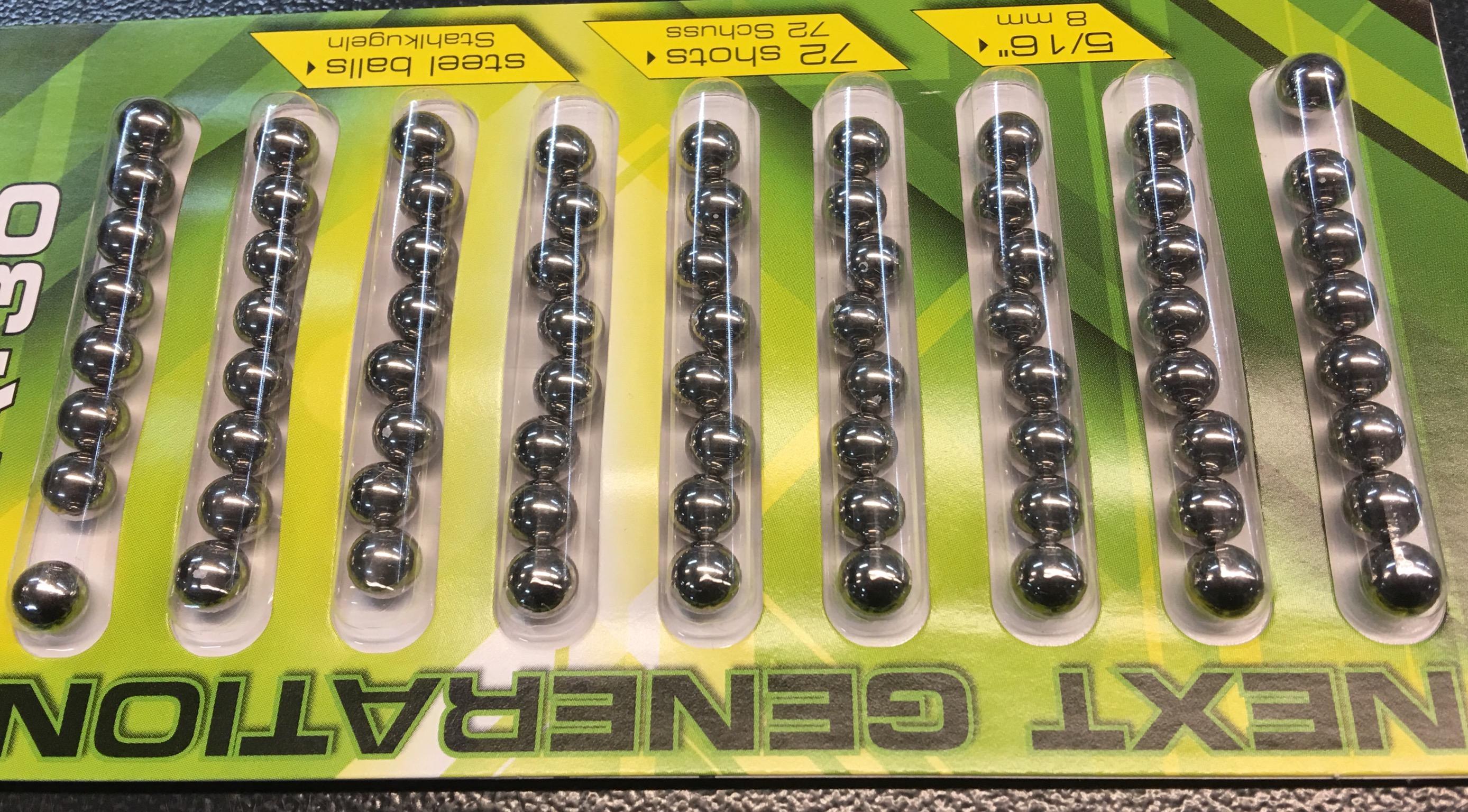 72er Pack Stahlkugeln für Power slingshot