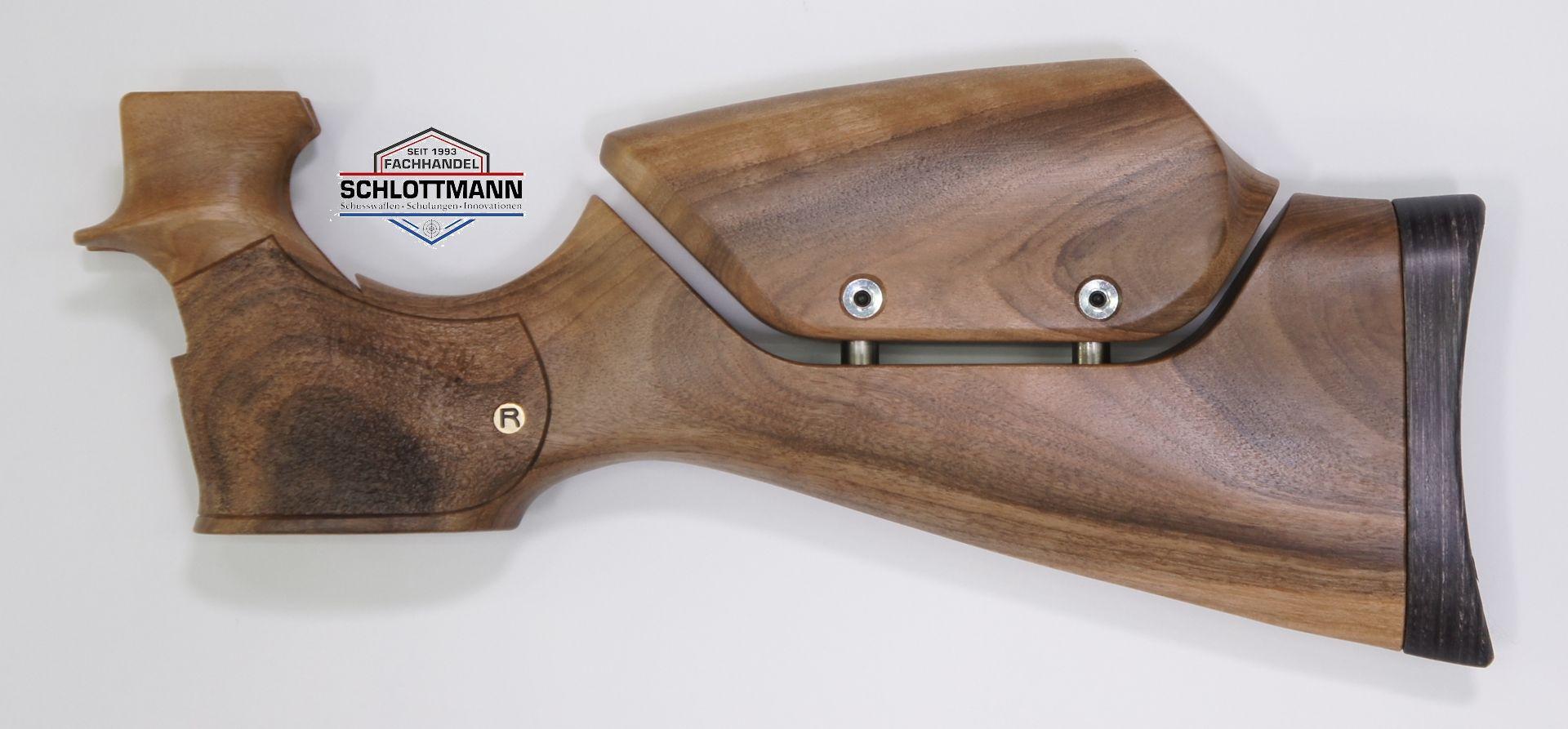 Anschlagschaft für Luftpistole HW 45 (Standardausführung und HW 45 Trophy)  aus Nussbaumholz mit verstellbarer Schaftbacke