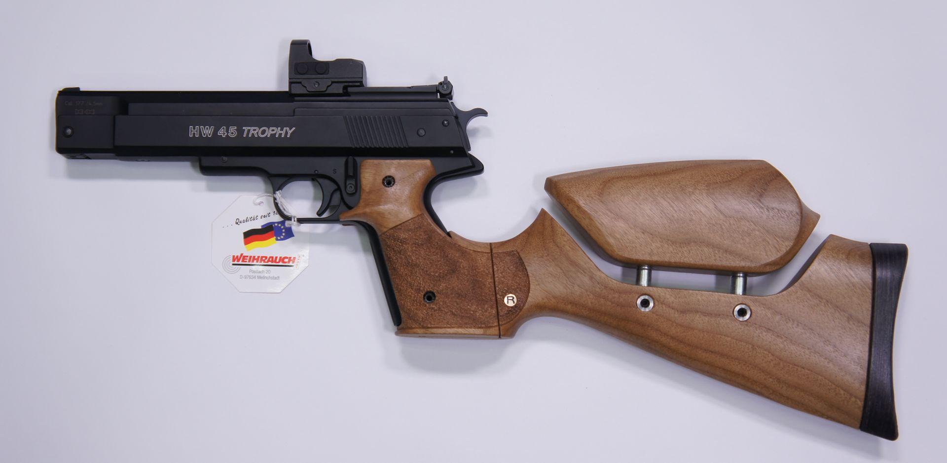 Montagebeispiel mit der Luftpistole Weihrauch  HW 45 Trophy