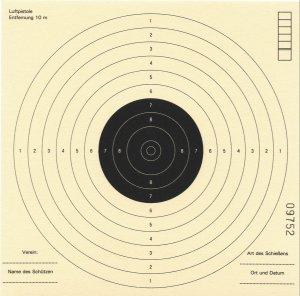 Zielscheiben 17x17cm, Pistolen- Schießscheiben