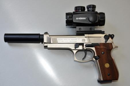 CO2 Pistole mit Red Dor und Schalldämpfer